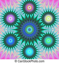 Multicolored fractal mandala background