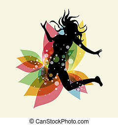Happy jumping woman with transparent spring elements. EPS10 file version. This illustration contains transparencies and is layered for easy manipulation and custom coloring