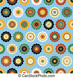 Multicolored funky flowers abstract seamless pattern on blue background. Vector. EPS 10