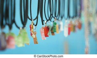 Multicolored gems on laces sold as souvenirs in Askania-Nova...