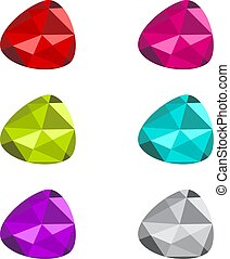 Multicolored Gemstone Collection Over White