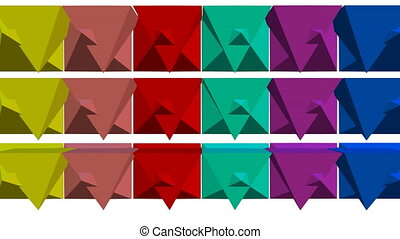 Multicolored geometric 3d shapes moving on white background, 3d kaleidoscope, cheerful vfx animation, abstract movie
