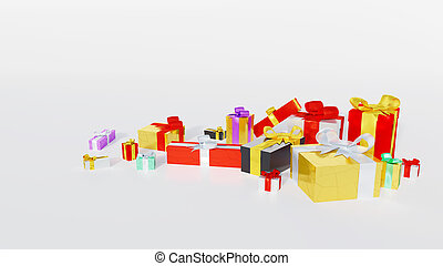 Multicolored gifts with big colored and shiny ribbons