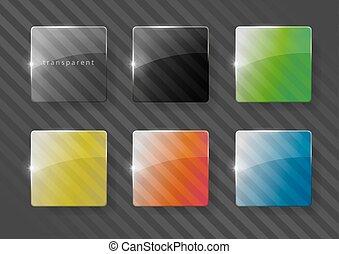 Multicolored glass lenses - Set of multicolored lenses made...