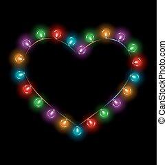 Multicolored glassy lights like heart frame isolated on black