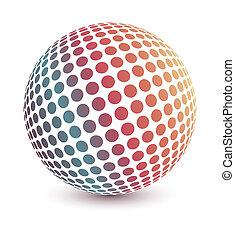 Multicolored 3d globe illustration vector.