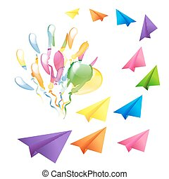 Multicolored glossy balloons and flying colorful paper planes is