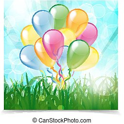 Multicolored glossy balloons on a blue natural background