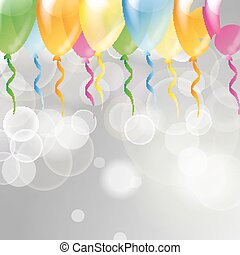 Multicolored glossy balloons on a silver festive background with light beams
