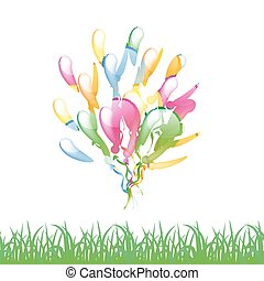Multicolored glossy balloons with grass silhouette isolated on a