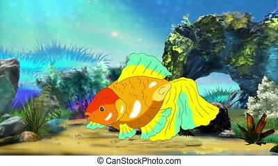 Multicolored Goldfish Floating in Aquarium. Handmade...