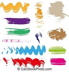 multicolored gouache brush strokes