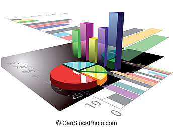 multicolored graph on white background. 10 EPS