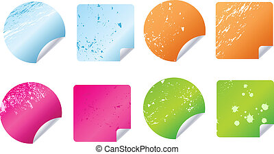 Multicolored grungy stickers, labels