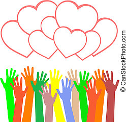 multicolored hands holding the heart. vector background