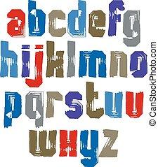 Multicolored handwritten letters