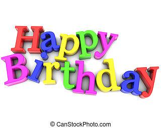 multicolored Happy Birthday over white background