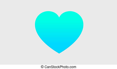 Multicolored heart animation, video with transparent background