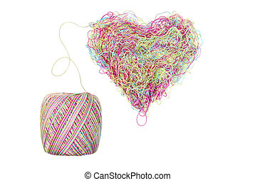 multicolored heart of threads isolated on white