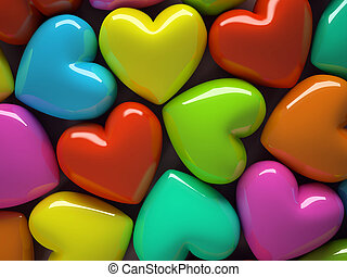 Multicolored hearts isolated on background 3D rendering