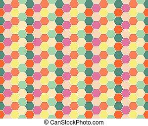 Multicolored hexagon geometric seamless background.