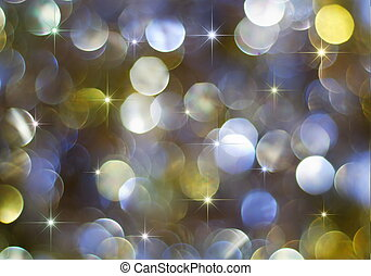 Multicolored holiday lights and stars