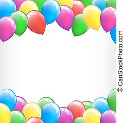 Multicolored inflatable air balls like frame isolated on white