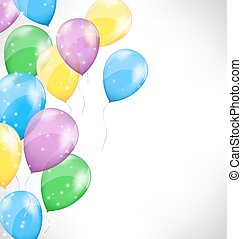 Multicolored inflatable air balls on grayscale background