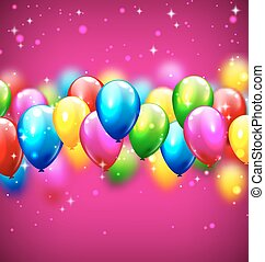 Multicolored inflatable celebration balloons on violet...
