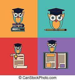 multicolored, jogo, fundo, com, coruja, com, escola, e, graduação, elementos
