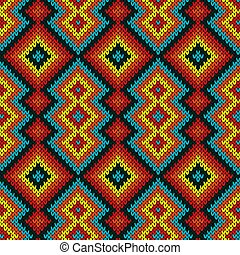 Multicolored saturated knitted seamless pattern with geometric decorative figures, vector as a fabric texture