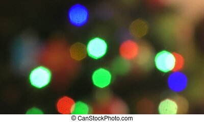 Multicolored lights on the Christmas tree