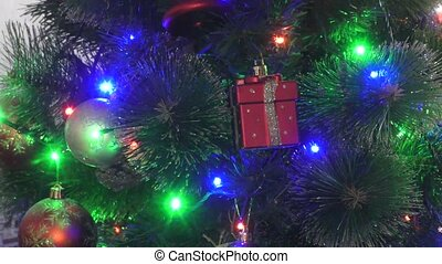 Multicolored lights on the Christmas tree