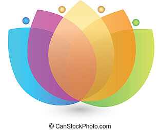 Multicolored lotus flower logo - Vector of multicolored...
