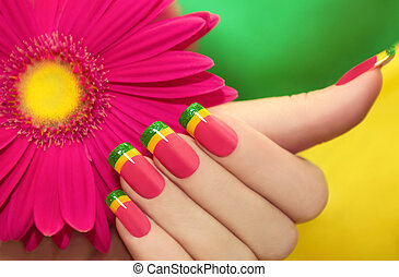 Multicolored manicure . - Multicolored manicure with...