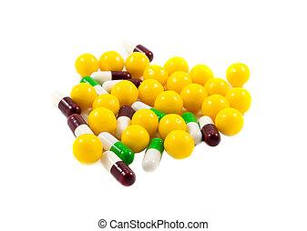 Multicolored medicine pills