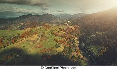 Multicolored mountainous landscape aerial view - Autumn...