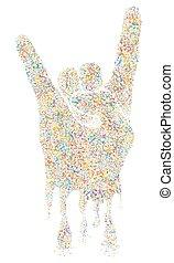 Multicolored  Musical Rock Gesture