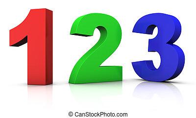 multicolored, números