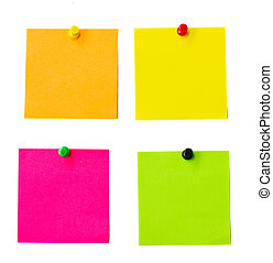 multicolored notes - multicolored paper stickers isolated on...