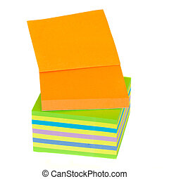 multicolored notes - stack of multicolored paper stickers...