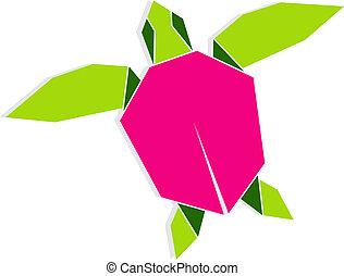 Multicolored origami turtle - Single multicolored origami...