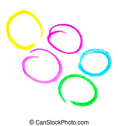 Multicolored painted circles on a white isolated background.