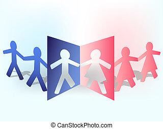Multicolored paper man composition, vector illustration.