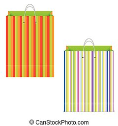 Multicolored paper shopping bag on white. vector