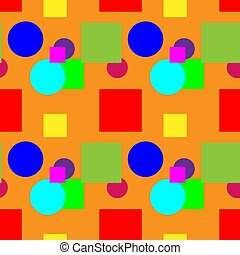 Multicolored pattern on an orange background color