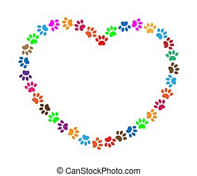 Multicolored paw prints heart frame vector image