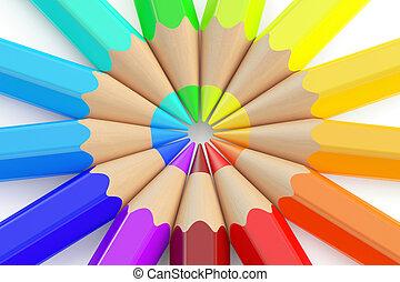Multicolored pencils, 3D rendering