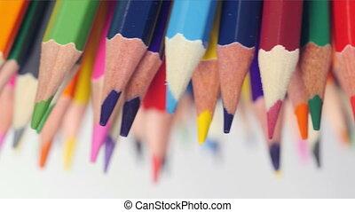 Multicolored pencils point down