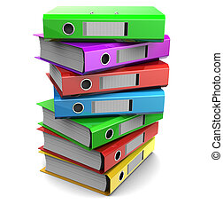 multicolored piles of binder folders - 3d clipart of pile of...